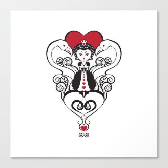 Queen of Hearts  | black, white and red Canvas Print