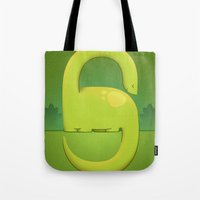 dino Tote Bags featuring Dino by Andy DuFort