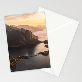 Sunrise and Mountains, Lofoten Islands Norway.  Stationery Cards