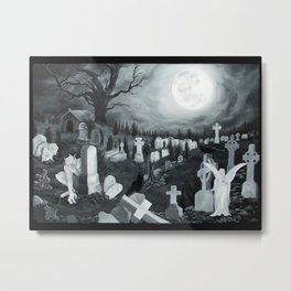 At night on the cemetery Angel with Devil Metal Print