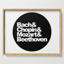 Bach and Chopin and Mozart and Beethoven, sticker, circle, black Serving Tray