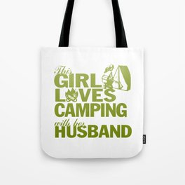 LOVES CAMPING WITH HER HUSBAND Tote Bag