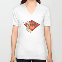 surfboard V-neck T-shirts featuring Waimea Hawaiian Surfboard Design by Drive Industries