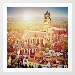 Bruges cityscape with St. Sauveur cathedral, Belgium Art Print