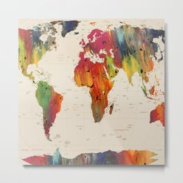ALLOVER THE WORLD-Painted map Metal Print
