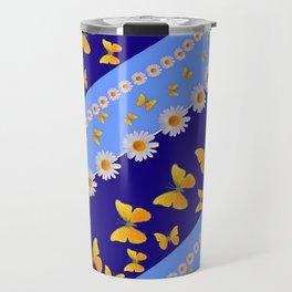 BLUE ART YELLOW BUTTERFLIES & WHITE DAISIES  DIAGONAL STRIPES Travel Mug