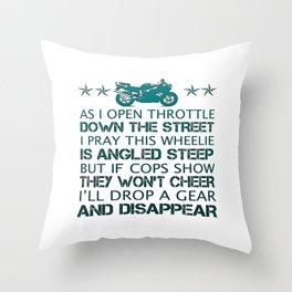 BIKER'S POEM Throw Pillow