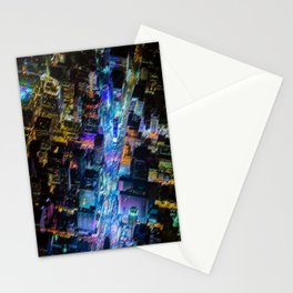 Aerial Times Square - New York City Landscape Painting by Jeanpaul Ferro Stationery Cards