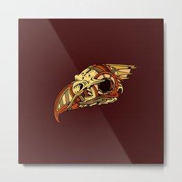 Bronze Hawk-Skull Metal Print