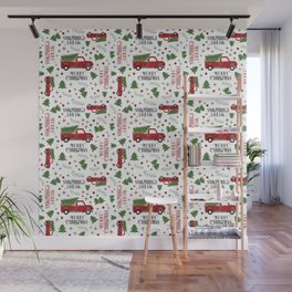Merry Christmas Red Vintage Truck with Tree Wall Mural