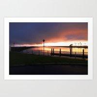 Seal Beach Storm Sunset Art Print