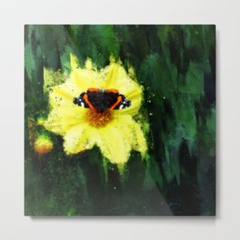 Red Admiral Butterfly on Yellow Dahlia Metal Print