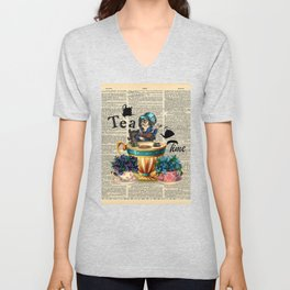 Tea Time - Alice In Wonderland - Vintage Dictionary Page Unisex V-Neck