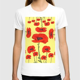 POPPY PIZZA RED-ORANGE  FLORAL DESIGN ON YELLOW ART T-shirt