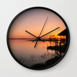 Sunset On A Calm Lake Wall Clock