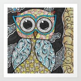 Owl Night Zendoodle Artwork Art Print