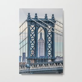 Blue Empire State Building Metal Print