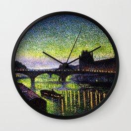 The Louvre, Pont du Carrousel, River Seine, Paris green twilight cityscape painting by Maximilien Lu Wall Clock