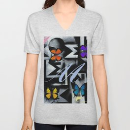 Monarch Butterfly Modern Abstract Painting Rainbow Art Unisex V-Neck