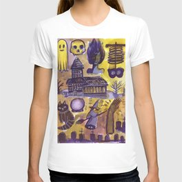 haunted house horror aesthetic pattern T-shirt