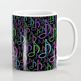 Vibrant Neon Musical Notes Random Pattern Coffee Mug