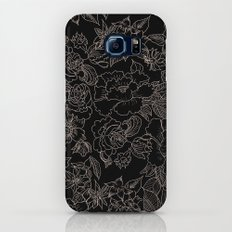 Pink coral tan black floral illustration pattern Slim Case Galaxy S7