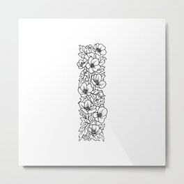 Floral Type - Letter I Metal Print