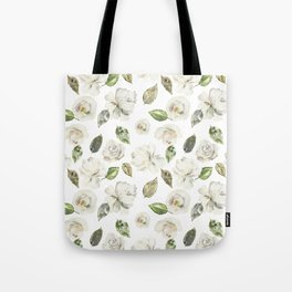 Green brown white watercolor modern floral leaves Tote Bag