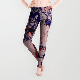 Hot And Cold - Textured Abstract In Blue, Red And Black Leggings
