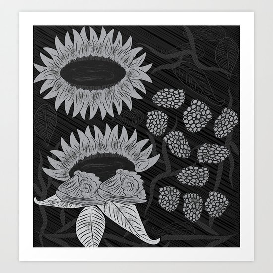 Black and white Floral Art Art Print