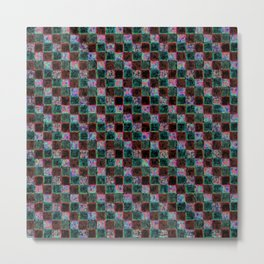 Maroon Green Multicolored Patchwork Metal Print