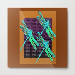 Coffee Brown-Purple Patterns  Turquoise-Blue Dragonflies Art Metal Print