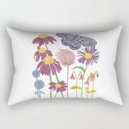 Spring Awakening - Purple Butterfly and Wildflowers Rectangular Pillow