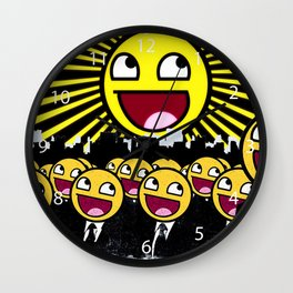 Awesome Smiley Faces Yellow Emoticon                                      Wall Clock