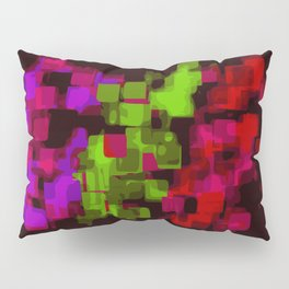 green red and purple painting square pattern with black background Pillow Sham