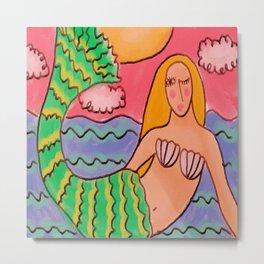 Sunset Mermaid Abstract Digital Painting Metal Print