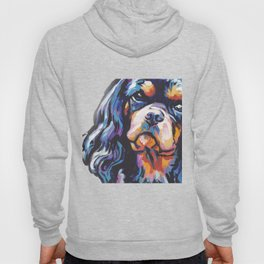 black and tan Cavalier King Charles Spaniel Dog Portrait Pop Art painting by Lea Hoody