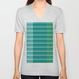 Tanager Turquoise, Teal Blue and Kelly Green Line Pattern Unisex V-Neck