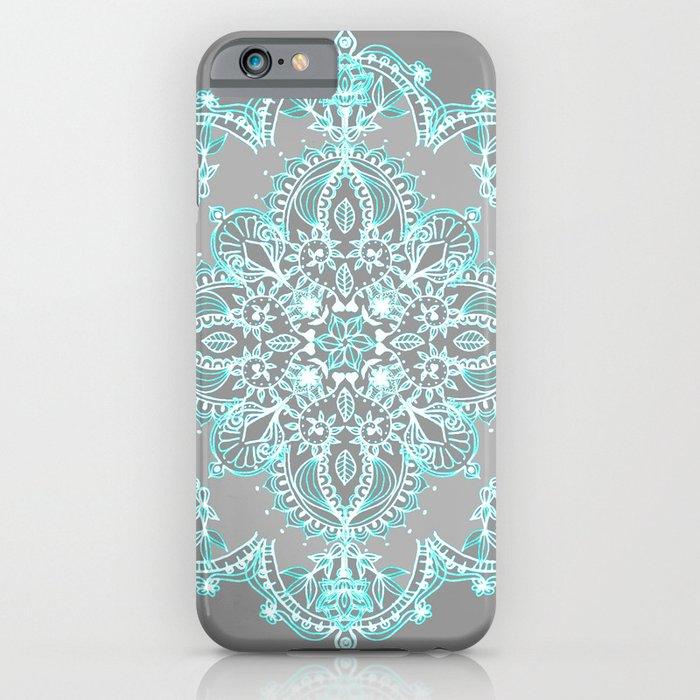 teal and aqua lace mandala on grey iphone case
