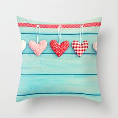 Hanging Hearts on Wood Throw Pillow