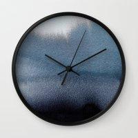 georgiana paraschiv Wall Clocks featuring In Blue by Georgiana Paraschiv