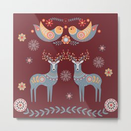 Nordic Winter Red Metal Print