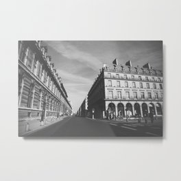 The Streets of Paris - Black and White Photograph Metal Print