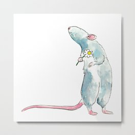 Woodland mouse with a flower Metal Print