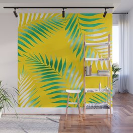 Bright tropical green watercolor palm tree hand drawn on bright yellow Wall Mural
