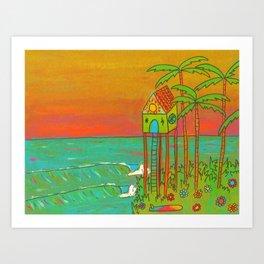 Surf Paradise Dream Home House on Stilts Art Print