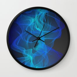 Abstract Blue and Teal Geometric Smokey Pattern Wall Clock