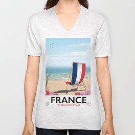 France seaside poster Unisex V-Neck