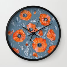 Red poppies in grey Wall Clock