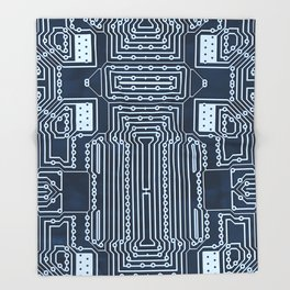 Blue Geek Motherboard Circuit Pattern Throw Blanket